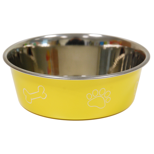 COLORED BOWL PRINT DIA 17CM YELLOW